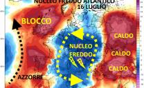 Acme del caldo nelle prossime 48 h, poi saccatura fredda dal nordatlantico con temporali e 10° C in meno, seguita da maggior stabilità
