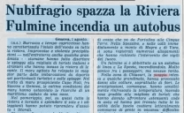 2 Agosto 1976, nubifragio spazza la riviera, fulmine incendia un autobus