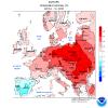 Anomalia della temperatura e delle precipitazioni in Europa nel periodo tra il giorno 8 e il 14 di Aprile 2018.