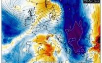 Prima freddo artico poi aria più mite atlantica.