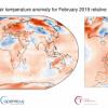 A livello globale il febbraio 2019 è stato il terzo più caldo della serie 1981-2010