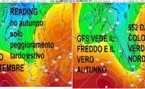 GFS vede l'Autunno in arrivo, READING nessun Autunno, solo un cavo d'onda tardo-estivo