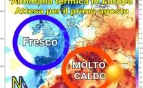Tipica configurazione barica in Europa favorevole alle ondate di calore sull'Italia centrale e meridionale e sui Balcani.