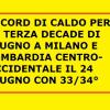 Record di caldo a Milano e Lombardia Venerdi' scorso, per la terza decade di Giugno degli anni recenti caldissimi