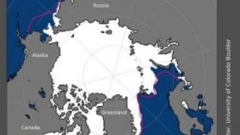 Nuovo record minino della superficie del ghiaccio artico nel mese di Aprile.