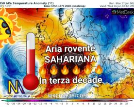 Gran caldo in Italia durante l'ultima decade di questo mese.