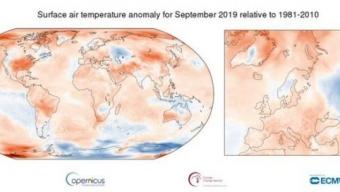 SETTEMBRE 2019 STABILISCE UN NUOVO RECORD DI TEMPERATURA GLOBALE .