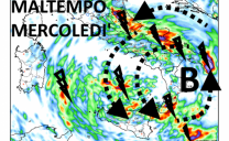 Maltempo in arrivo da lunedì pomeriggio in Adriatico e al sud; sensibile diminuzione delle temperature ovunque, più avvertita al centrosud