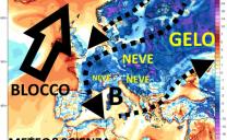 Dicembre con blocchi atlantici e neve a quote basse e martedì prima bordata con neve a 200 m in adriatico