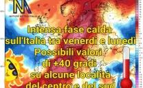 Nuova intensa avvezione calda nord africana sull'Italia tra venerdi e lunedì.