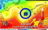 Nuova avvezione di aria molto calda dal nord Africa verso l'Italia