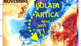Il vortice polare si trasferisce in Europa in Novembre e il Mediterraneo diventa obiettivo di afflussi freddi artici