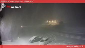 Bufera di neve sulla Maielletta