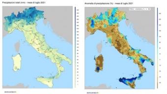Luglio 2021 in Italia: Pioggia: Quantita' ed Anomalie.